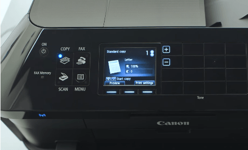 step 1 - Press ON button to turn on the Canon MX922.