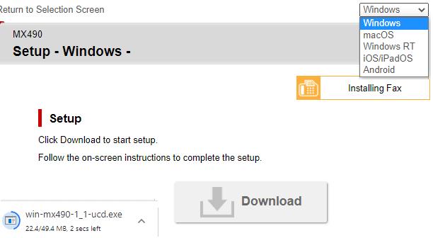 step 3 -Download Canon pixma Mx490 setup or insert setup CD