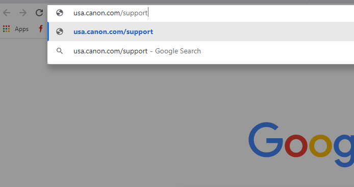 step 3 - Go to Canon printer support site