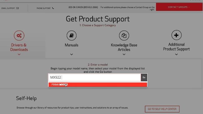 step 4 - Enter MX922 in product search box copy